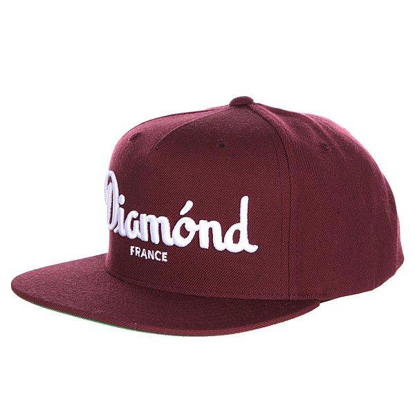 Бейсболка с прямым козырьком Diamond Champagne Snapback Maroon<br><br>Цвет: бордовый<br>Тип: Бейсболка с прямым козырьком<br>Возраст: Взрослый<br>Пол: Мужской