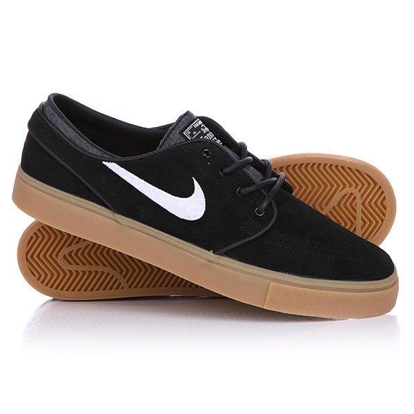 Кеды кроссовки низкие Nike Zoom Stefan Janoski Black/White Gum Light Brown