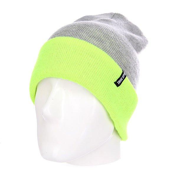 Шапка TrueSpin Neon 2 Tone Roll Up Heather Grey Lime<br><br>Цвет: серый,зеленый<br>Тип: Шапка<br>Возраст: Взрослый<br>Пол: Мужской
