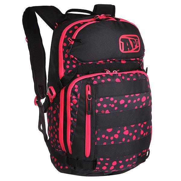 Рюкзак спортивный женский Apo Hulla Technical Backpack Cherry PinkВместительный рюкзак с короткой ручкой, ярким принтом и регулируемыми бретелями для городских путешественниц. Характеристики:Просторное основное отделение, вмещающее папку формата А4 на молнии. Дополнительное отделение на молнии.Удобный карман на молнии с наружной стороны. Маленький карман на молнии с лицевой стороны для очков. Мягкие регулируемые лямки. Защитная смягченная задняя панель.<br><br>Цвет: черный,розовый<br>Тип: Рюкзак спортивный<br>Возраст: Взрослый<br>Пол: Женский