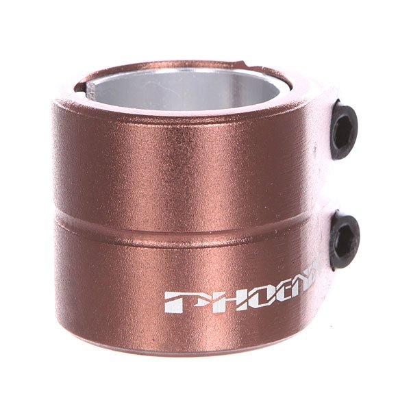 Зажимы Phoenix Smooth Double Bolt Clamp BronzeУниверсальный двойной зажим с болтами HiTen М8, который можно использовать как со стандартным, так и с негабаритным рулем.Технические характеристики: Подходит для стандартного и негабаритного руля.Шестигранные болты HiTen M8.Логотип.<br><br>Цвет: коричневый<br>Тип: Зажимы