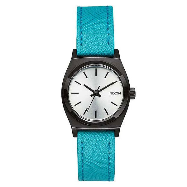 Часы женские Nixon Small Time Teller Leather Silver/Turquoise часы nixon re run leather all black