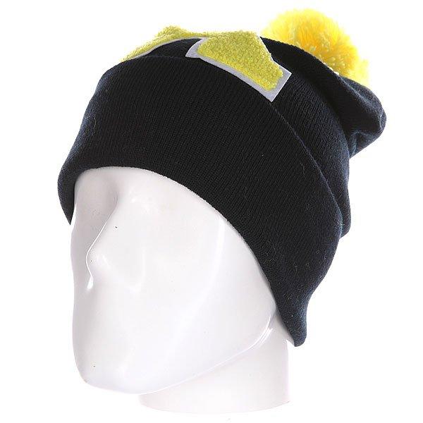 Шапка Truespin Abc Pompom Beanie Black/Yellow X<br><br>Цвет: черный,желтый<br>Тип: Шапка<br>Возраст: Взрослый<br>Пол: Мужской