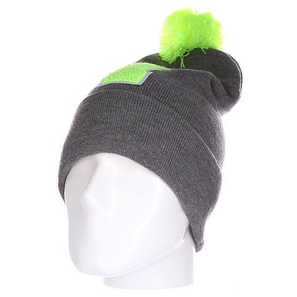 Шапка Truespin Abc Pompom Beanie Grey/Lime I<br><br>Цвет: серый,зеленый<br>Тип: Шапка<br>Возраст: Взрослый<br>Пол: Мужской