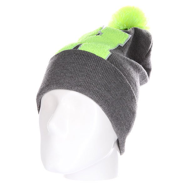 Шапка Truespin Abc Pompom Beanie Grey/Lime H