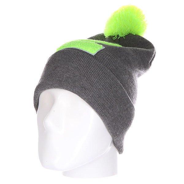 Шапка Truespin Abc Pompom Beanie Grey/Lime Z