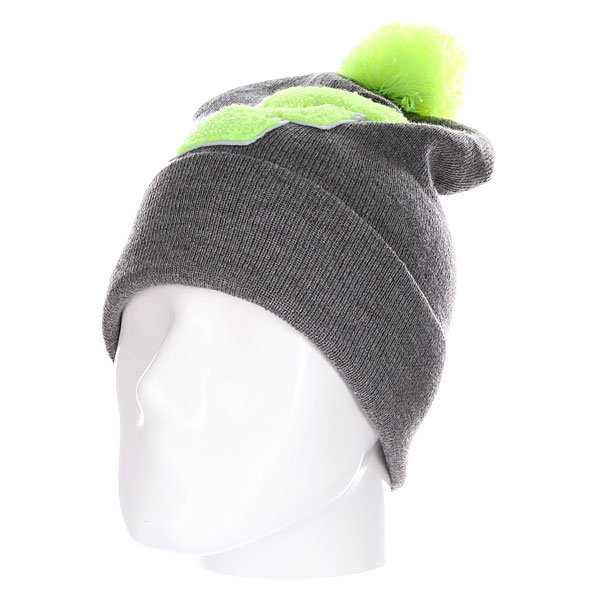 Шапка Truespin Abc Pompom Beanie Grey/Lime F