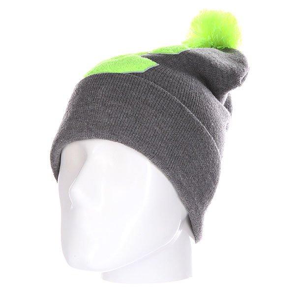 Шапка Truespin Abc Pompom Beanie Grey/Lime C<br><br>Цвет: серый,зеленый<br>Тип: Шапка<br>Возраст: Взрослый<br>Пол: Мужской