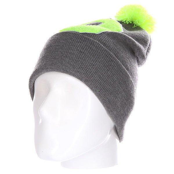 Шапка Truespin Abc Pompom Beanie Grey/Lime O<br><br>Цвет: серый,зеленый<br>Тип: Шапка<br>Возраст: Взрослый<br>Пол: Мужской
