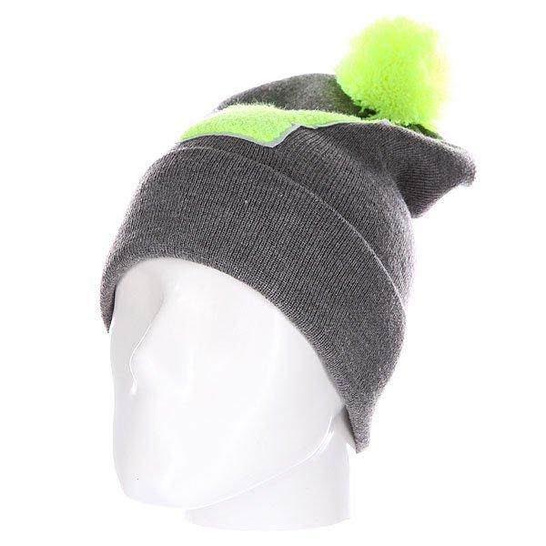 Шапка Truespin Abc Pompom Beanie Grey/Lime V<br><br>Цвет: серый,зеленый<br>Тип: Шапка<br>Возраст: Взрослый<br>Пол: Мужской