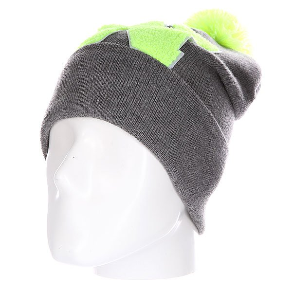 Шапка Truespin Abc Pompom Beanie Grey/Lime N