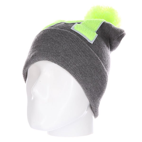 Шапка Truespin Abc Pompom Beanie Grey/Lime M