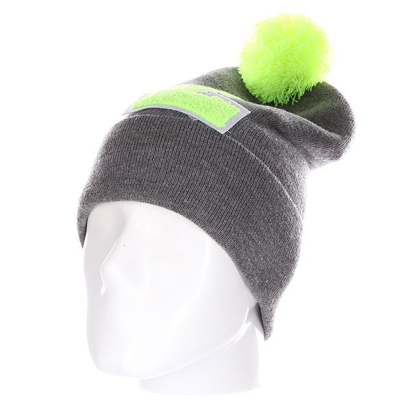 Шапка Truespin Abc Pompom Beanie Grey/Lime L