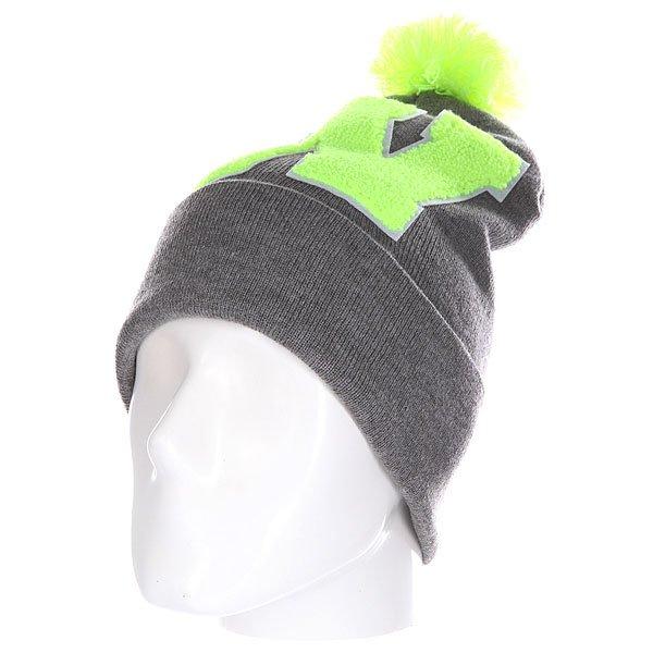 Шапка Truespin Abc Pompom Beanie Grey/Lime W