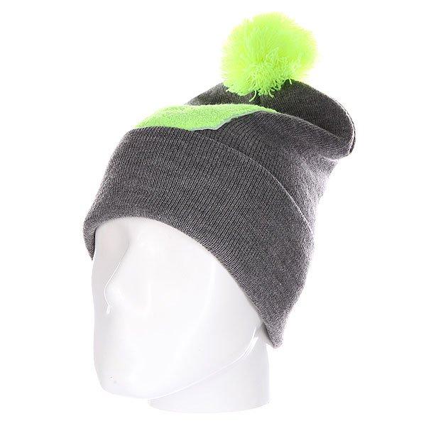 Шапка Truespin Abc Pompom Beanie Grey/Lime U<br><br>Цвет: серый,зеленый<br>Тип: Шапка<br>Возраст: Взрослый<br>Пол: Мужской