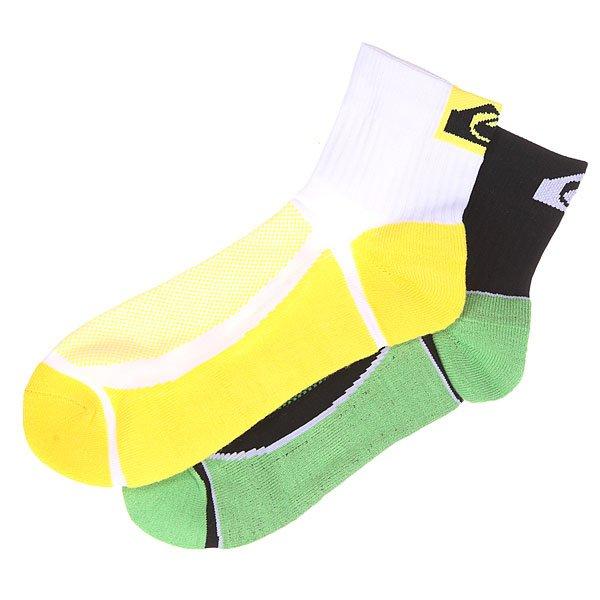 Носки низкие Quiksilver 2pk Crew White/Black<br><br>Цвет: зеленый,желтый,белый,черный<br>Тип: Носки низкие<br>Возраст: Взрослый<br>Пол: Мужской