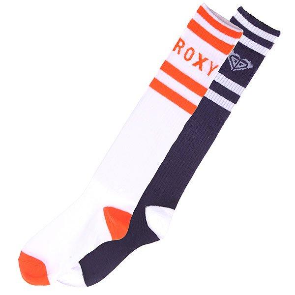 Гольфы женские Roxy 2pk Logo Navy/Orange<br><br>Цвет: белый,синий,оранжевый<br>Тип: Гольфы<br>Возраст: Взрослый<br>Пол: Женский