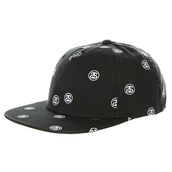 Бейсболка с прямым козырьком Stussy Ss Link Embroidered Cap Black