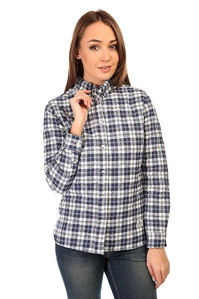 Рубашка утепленная женская Penfield Kemsey Quilted Plaid Long Sleeve Shirt Navy<br><br>Цвет: синий,белый<br>Тип: Рубашка утепленная<br>Возраст: Взрослый<br>Пол: Женский