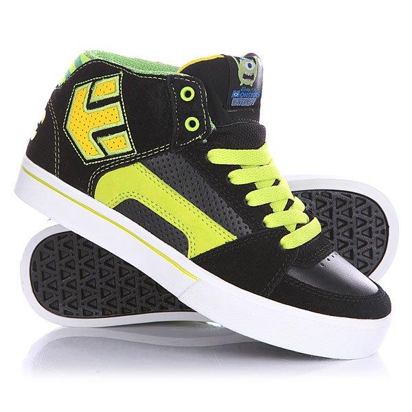 Кеды кроссовки высокие детские Etnies Disney Monsters Rvm Black/Green/White<br><br>Цвет: черный,зеленый,желтый<br>Тип: Кеды высокие<br>Возраст: Детский