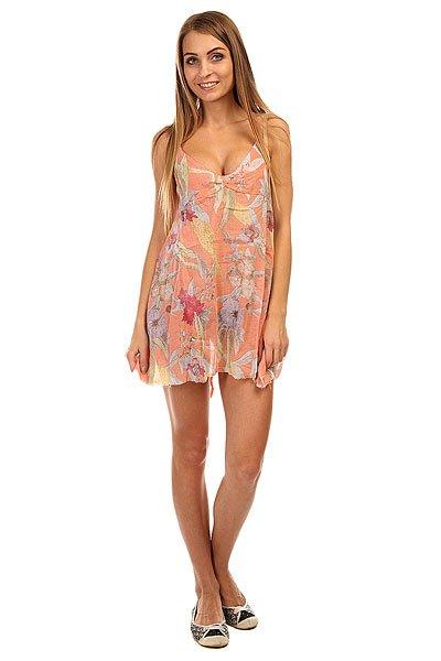 Платье женское Insight Del May Dress Palme PeachЛегкое короткое платье – сарафан – то, что нужно для жаркого лета.Характеристики:Свободный крой. Открытая спинка на завязках.Декоративный принт.<br><br>Цвет: оранжевый<br>Тип: Платье<br>Возраст: Взрослый<br>Пол: Женский