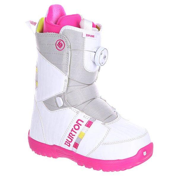 Ботинки для сноуборда детские Burton Zipline Boa White/Grey/Pink