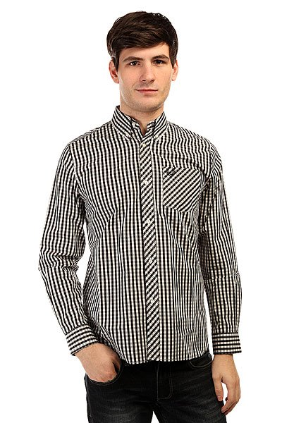 Рубашка в клетку Fred Perry Gingham Shirt Long Sleeve Black/White рубашка поло la martina рубашка поло