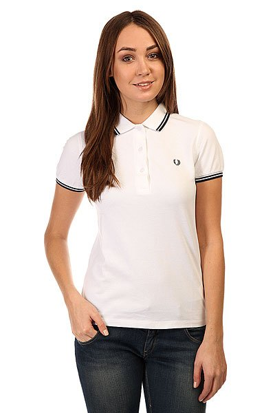 Поло женское Fred Perry Twin Tipped Shirt Shiny White