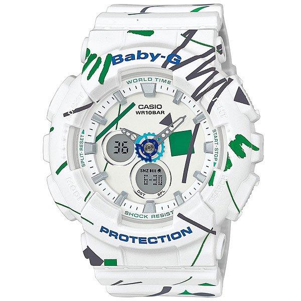 Часы детские Casio G-Shock Baby-G Ba-120sc-7a WhiteЧасы серии Baby-G - женский вариант G-Shock, созданный специально для активных, молодых девушек, которые не хотят отставать от мужчин.Технические характеристики: Светодиодная подсветка.Ударопрочная конструкция защищает от ударов и вибрации.Функция мирового времени.Функция секундомера - 1/100 сек. - 1 час.Таймер - 1/1 мин. - 1 час (с автоматическим повтором).Яхт-таймер.5 ежедневных будильников.Функция повтора будильника.Автоматический календарь.12/24-часовое отображение времени.Прочное, устойчивое к царапинам минеральное стекло защищает часы от повреждений.Корпус из полимерного пластика.Ремешок из полимерного материала.Аккумулятор обеспечивает часы достаточным питанием приблизительно на два года.Водонепроницаемость (10 Бар)  - 100м.Точность +/- 30 сек в месяц.<br><br>Цвет: белый,мультиколор<br>Тип: Кварцевые часы<br>Возраст: Детский