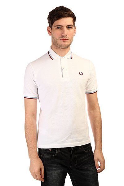 Поло Fred Perry Twin Tipped Shirt White поло детское fred perry my first fred perry shirt black