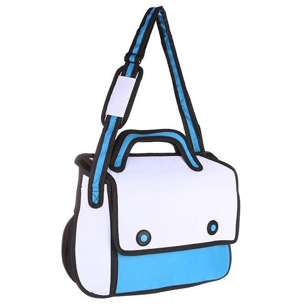 Сумка через плечо Jump from paper 2D Simple White/Blue/BlackНевероятная мультяшная сумка на любой случай. Удобная длинная лямка позволяет носить сумку на плече или через плечо в зависимости от Вашего настроения!Технические характеристики: Большое основное отделение, в которое можно положить книги, ноутбук или немного одежды.Наружный карман на молнии.Изготовлена из водонепроницаемого материала.Регулируемая плечевая лямка.Ручка.Застежка - кнопки.<br><br>Цвет: голубой,белый,черный<br>Тип: Сумка через плечо
