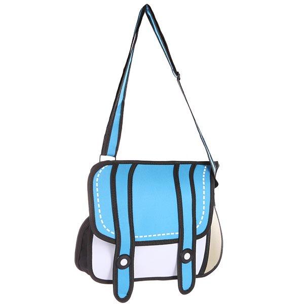 Сумка через плечо Jump from paper 2D Blue Bag White/Blue/BlackНестандартная сумка в мультяшном оформлении, при этом ее можно взять с собой куда угодно!Технические характеристики: Большое основное отделение, в которое можно положить книги, ноутбук или немного одежды.Наружный карман на молнии.Изготовлена из водонепроницаемого материала.Регулируемая плечевая лямка.Застежка - кнопки.<br><br>Цвет: белый,голубой,черный<br>Тип: Сумка через плечо