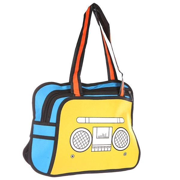 Сумка через плечо Jump from paper 2D Radio Edition Yellow/Blue/BlackМультяшная сумка-магнитофон - необычное дизайнерское решение. Сумка, которая ворвалась в реальность прямо с экрана!Технические характеристики: Большое основное отделение на молнии, в которое можно положить книги, ноутбук или немного одежды.Наружный карман на молнии.Изготовлена из водонепроницаемого материала.Ручки.<br><br>Цвет: желтый,голубой,черный<br>Тип: Сумка через плечо