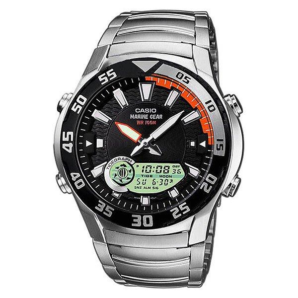 Часы Casio Collection 49699 Amw-710D-1AФункциональная, водонепроницаемая модель часов позволяет не снимать часы при погружении в воду на глубину до 100 метров. Дополнительным плюсом также является наличие графика приливов и отливов, а также неоновый дисплей, благодаря которому Вы можете видеть точное время на часах даже в темное время суток.Технические характеристики:  Светодиодная подсветка.Неоновый дисплей - светящееся покрытие обеспечивает длительную подсветку в темное время суток после короткого воздействия света.Отображение данных о луне - на экране отображается фаза луны, исходя из Ваших текущих данных широты и долготы.Отображение графика приливов - графики приливов и отливов отображаются, исходя из Ваших текущих данных  широты и долготы, а также лунного промежутка.Дополнительный циферблат мирового времени.Функция секундомера- 1/100 сек. - 24 часа.Таймер - 1/1 мин. - 24 часа (с автоматическим повтором).Будильник с тремя многофункциональными звуковыми сигналами.Функция повтора будильника.Включение/выключение звука кнопок.Автоматический календарь.12/24-часовое отображение времени.Минеральное стекло - прочное, устойчивое к царапинам минеральное стекло защищает часы от повреждений.Корпус из нержавеющей стали.Браслет из нержавеющей стали.Предохранительная защелка - помогает предотвратить случайное расстегивание ремешка.Продолжительное время работы аккумулятора - 10 лет.Водонепроницаемость (10 Бар) - 100м.Точность +/- 30 сек в месяц.<br><br>Тип: Кварцевые часы<br>Возраст: Взрослый<br>Пол: Мужской