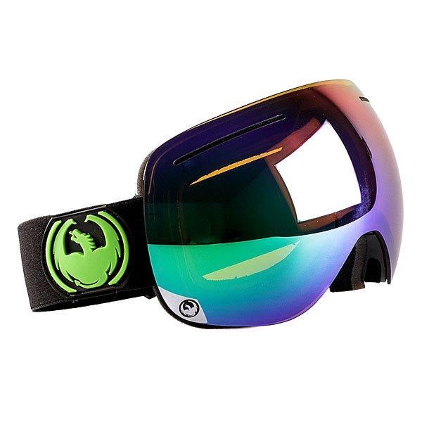 Маска для сноуборда Dragon X1s Jet/Green Ion Yellow Blue Ion OneМаска Dragon X1s - младший собрат маски X1, отличающийся только размером, подходящим большему количеству людей.Надежнаяи невероятно стильнаямаскасо сферической линзой из поликарбоната защитит Ваши глаза от солнца и ветра. Dragon X1s имеет средниегабариты и обладает великолепным периферийным и вертикальным обзором. Приятным и далеко не самым маловажным дополнением является обработка линз против запотеванияSuper Anti-Fog, которая в сочетании с надежной системой вентиляцииArmored Ventilation не позволит Вам ни на секунду отвлечьсяот катания на склоне или в полях пухляка.Характеристики:Надежная система вентиляции Armored Ventilation. Безоправная конструкция. Сферические линзы из поликарбоната. Покрытие Super Anti-Fog предотвращает запотевание линзы. Трехслойная пена с гипоаллергенной подкладкой из микрофлиса. 100% защита от ультрафиолета. Улучшенная циркуляция воздуха. База кривизны линзы 6: превосходная четкость без искажений. Регулируемый ремешок. Маска совместима со шлемом. Medium Fit - маска среднего размера.<br><br>Цвет: черный,зеленый<br>Тип: Маска для сноуборда<br>Возраст: Взрослый<br>Пол: Мужской