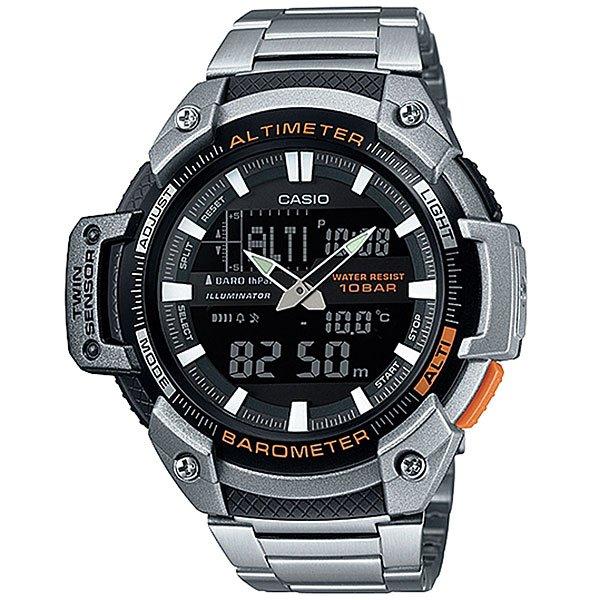 Часы Casio Collection Sgw-450hd-1b Silver/BlackМногофункциональные наручные часы с барометром, альтиметром, датчиком температуры для любителей активного отдыха.Характеристики:Электролюминесцентная подсветка, обеспечивающая равномерное освещение всего циферблата облегчая считывание данных. Характеризуется наличием функции задержки отключения, благодаря которой электролюминесцентная подсветка горит еще несколько секунд после отпускания кнопки освещения. Барометр: встроенный датчик давления для измерения барометрического давления. Встроенный датчик температуры. Альтиметр: встроенный датчик барометрического давления с возможностью вывода результатов в единицах высоты над уровнем моря. Максимальная высота - 10000 метров над уровнем моря. 5 ежедневных будильников. Таймер обратного отсчета. Секундомер с точностью показаний 1/100 сек и максимальным временем измерения - 24 часа. Отображение текущего времени в основных городах и регионах мира. Автоматический календарь. Отображение времени в 24-х и 12-ти часовом формате. Корпус выполнен из пластика. Пластиковое стекло. Регулируемый по длине браслет из нержавеющей стали. Водозащита до 10 АТМ.<br><br>Цвет: серый,черный<br>Тип: Кварцевые часы<br>Возраст: Взрослый<br>Пол: Мужской