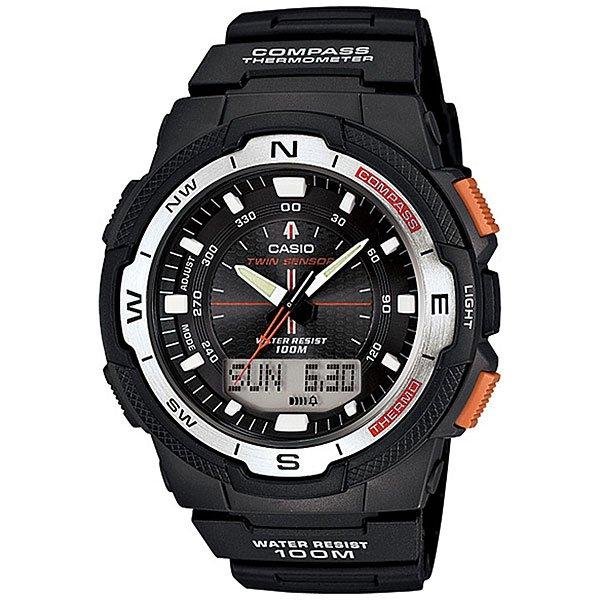 Часы Casio Collection Sgw-500h-1b BlackМногофункциональные и сдержанные часы в спортивном стиле станут идеальным выбором для современных мужчин. Характеристики:Коллекция Sports Gear.Циферблат подсвечивается светодиодом. Встроенный цифровой компас. Отображение возраста ифазы Луны, времени восхода и захода солнца. Встроенный датчик температуры от -10° до +60°С с точностью 0,1°C. Секундомер с точностью показаний 1/100с и временем измерения 24ч.Таймер обратного отсчета от 1мин до 100мин.Мировое время.12-ти и 24-х часовой форматвремени. Алюминиевыйбезель. Функция включения/отключения звука.<br><br>Цвет: черный<br>Тип: Кварцевые часы<br>Возраст: Взрослый<br>Пол: Мужской
