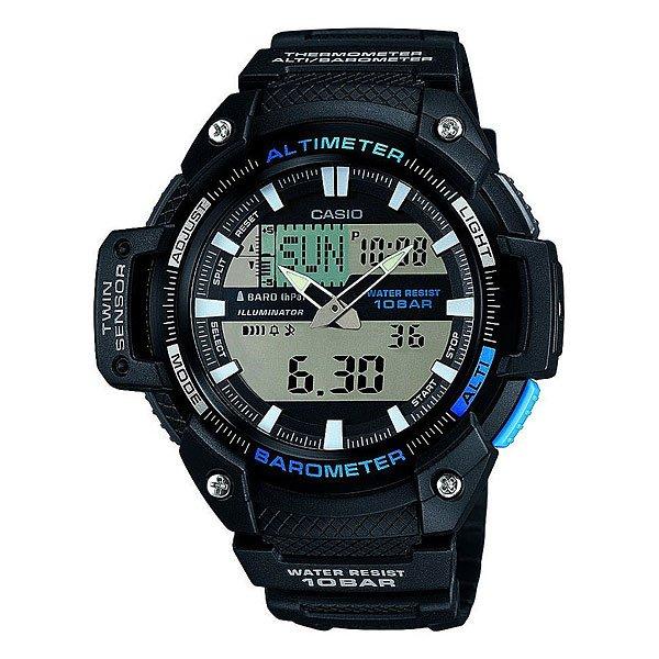 Часы Casio Collection Sgw-450h-1a BlackМногофункциональные наручные часы с барометром, альтиметром, датчиком температуры для любителей активного отдыха.Характеристики:Безель.Электролюминесцентная подсветка, обеспечивающая равномерное освещение всего циферблата облегчая считывание данных. Характеризуется наличием функции задержки отключения, благодаря которой электролюминесцентная подсветка горит еще несколько секунд после отпускания кнопки освещения. Барометр: встроенный датчик давления для измерения барометрического давления. Встроенный датчик температуры. Альтиметр: встроенный датчик барометрического давления с возможностью вывода результатов в единицах высоты над уровнем моря. Максимальная высота - 10000 метров над уровнем моря. 5 ежедневных будильников. Таймер обратного отсчета. Секундомер с точностью показаний 1/100 сек и максимальным временем измерения - 24 часа. Отображение текущего времени в основных городах и регионах мира. Автоматический календарь. Отображение времени в 24-х и 12-ти часовом формате. Корпус выполнен из пластика. Пластиковое стекло. Регулируемый по длине браслет из нержавеющей стали. Водозащита до 10 АТМ.<br><br>Цвет: черный<br>Тип: Кварцевые часы<br>Возраст: Взрослый<br>Пол: Мужской