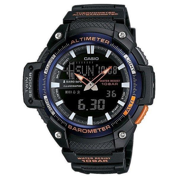 Часы Casio Collection Sgw-450H-2B BlackМногофункциональные наручные часы с барометром, альтиметром, датчиком температуры для любителей активного отдыха.Характеристики:Безель.Электролюминесцентная подсветка, обеспечивающая равномерное освещение всего циферблата облегчая считывание данных. Характеризуется наличием функции задержки отключения, благодаря которой электролюминесцентная подсветка горит еще несколько секунд после отпускания кнопки освещения. Барометр: встроенный датчик давления для измерения барометрического давления. Встроенный датчик температуры. Альтиметр: встроенный датчик барометрического давления с возможностью вывода результатов в единицах высоты над уровнем моря. Максимальная высота - 10000 метров над уровнем моря. 5 ежедневных будильников. Таймер обратного отсчета. Секундомер с точностью показаний 1/100 сек и максимальным временем измерения - 24 часа. Отображение текущего времени в основных городах и регионах мира. Автоматический календарь. Отображение времени в 24-х и 12-ти часовом формате. Корпус выполнен из пластика. Пластиковое стекло. Регулируемый по длине браслет из нержавеющей стали. Водозащита до 10 АТМ.<br><br>Цвет: черный<br>Тип: Кварцевые часы<br>Возраст: Взрослый<br>Пол: Мужской