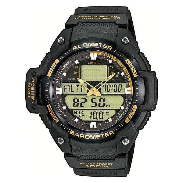 Часы Casio Collection Sgw-400h-1b2 BlackМногофункциональные наручные часы с барометром, альтиметром, датчиком температуры для любителей активного отдыха.Характеристики:Электролюминесцентная подсветка, обеспечивающая равномерное освещение всего циферблата облегчая считывание данных.Характеризуется наличием функции задержки отключения, благодаря которой электролюминесцентная подсветка горит еще несколько секунд после отпускания кнопки освещения. Барометр: встроенный датчик давления для измерения барометрического давления. Встроенный датчик температуры. Альтиметр: встроенный датчик барометрического давления с возможностью вывода результатов в единицах высоты над уровнем моря. Максимальная высота - 10000 метров над уровнем моря. 5 ежедневных будильников. Таймер обратного отсчета. Секундомер с точностью показаний 1/100 сек и максимальным временем измерения - 24 часа. Отображение текущего времени в основных городах и регионах мира. Автоматический календарь. Отображение времени в 24-х и 12-ти часовом формате. Корпус выполнен из пластика. Пластиковое стекло. Регулируемый по длине браслет из нержавеющей стали. Водозащита до 10 АТМ.<br><br>Цвет: черный<br>Тип: Электронные часы<br>Возраст: Взрослый<br>Пол: Мужской