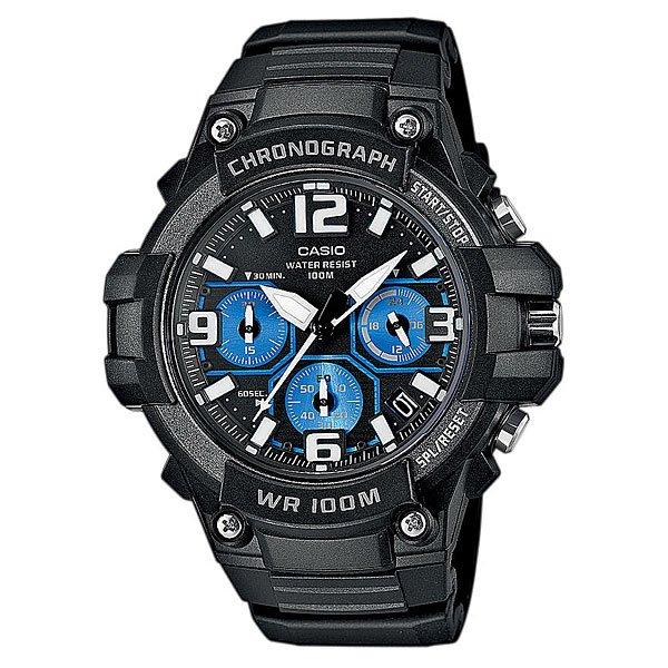 Часы Casio Collection Mcw-100h-1a2 Black/BlueНаручные часы оснащенные хронографом, окошком даты и индикатором времени суток для активных мужчин. Характеристики:Точный кварцевый механизм хронографа. Смещенная секундная стрелка. Окошко даты. Точность хода не хуже -10 +15 сек./в месяц. Стрелочный указатель времени суток с 24-х часовой шкалой. Материал корпуса пластик. Минеральное стекло устойчивое к возникновению царапин. Водозащита до 10 АТМ.<br><br>Цвет: черный,голубой<br>Тип: Кварцевые часы<br>Возраст: Взрослый<br>Пол: Мужской