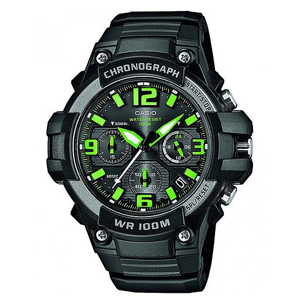 Часы Casio Collection Mcw-100h-3a Black/Green часы casio collection mcw 100h 3a black green