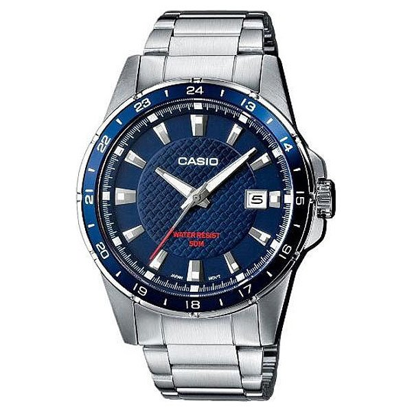 Часы Casio Collection Mtp-1290d-2a Silver/Blue мужские часы casio mtp 1259pd 2a