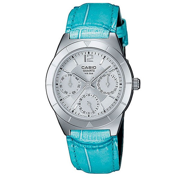 Часы женские Casio Collection Ltp-2069l-7a2 Silver/Blue кварцевые часы casio collection ltp e118g 5a