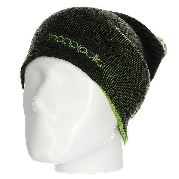 Шапка Hoppipolla Eiki Helgason Black/GreenСтильная шапка для тех, кому важна каждая деталь. Контрастная цветовая гамма, вышитый логотип, а также удлиненный фасон подчеркнут уникальный стиль ее владельца.Технические характеристики: Материал - акрил.Мелкая двухсторонняя вязка.Удлиненная макушка.Вышитый логотип.Шапку можно носить как с отворотом, так и без него.<br><br>Цвет: черный,зеленый<br>Тип: Шапка<br>Возраст: Взрослый<br>Пол: Мужской