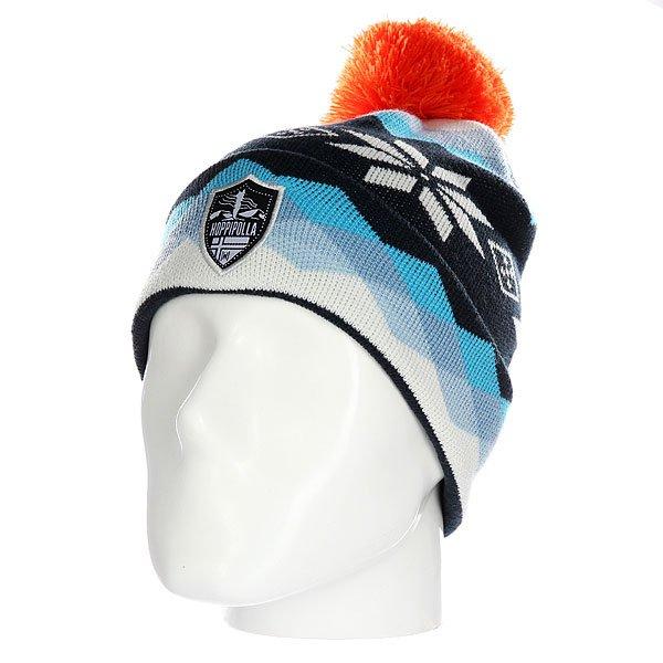 Шапка Hoppipolla Reykjavik BlueЯркая шапка с принтом, напоминающим морозный зимний день. Холодные снежные оттенки смело разбавлены горячим акцентом в виде помпона - в такой шапке безусловно будет и тепло и уютно!Технические характеристики: Материал - акрил.Мелкая вязка.Помпон.Отворот с логотипом.Яркий принт.<br><br>Цвет: мультиколор<br>Тип: Шапка<br>Возраст: Взрослый<br>Пол: Мужской