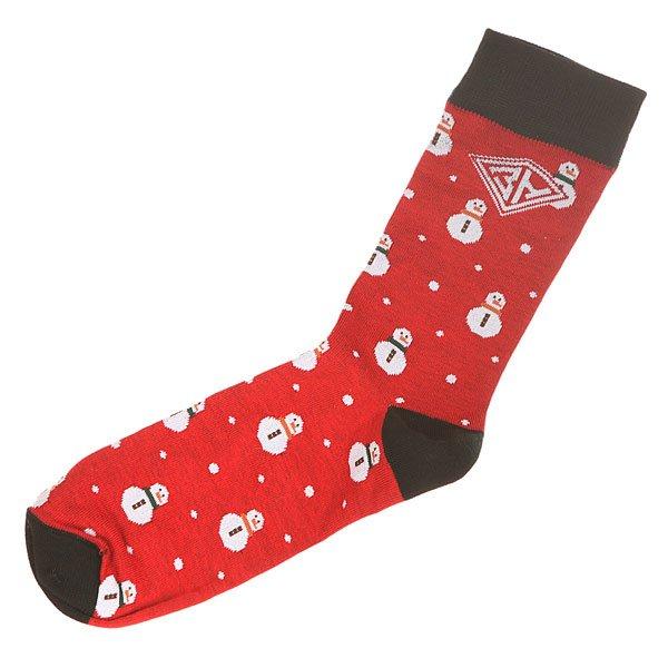 Носки средние Запорожец Снеговик Red/Black<br><br>Цвет: красный,черный<br>Тип: Носки средние<br>Возраст: Взрослый<br>Пол: Мужской