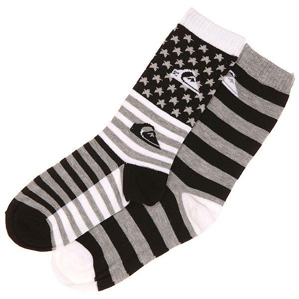 Носки средние детские Quiksilver All American 2 Pk. Black<br><br>Цвет: черный,белый<br>Тип: Носки средние<br>Возраст: Детский