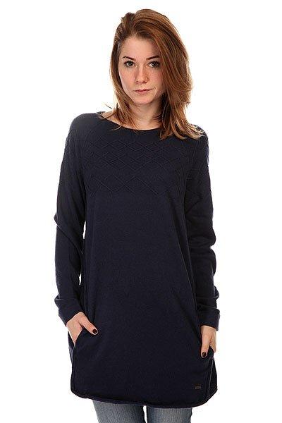 Платье женское Roxy Sol Mate2 NavyПлатье-свитер для девушек. Удобное, практичное и многофункциональное, оно отлично подойдет для прохладных осенних дней.Характеристики:Платье-свитер.Свободный крой. Круглый вырез. Длинные рукава. Спущенное плечо.Жаккардовые узоры на груди. Карманы по бокам.<br><br>Цвет: синий<br>Тип: Платье<br>Возраст: Взрослый<br>Пол: Женский