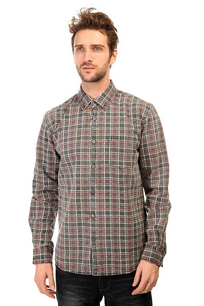 Рубашка в клетку Quiksilver Prelock Ls Wvtp Prelock Anthracite рубашка в клетку dc kalis plaid ls wvtp kalis plaid chili pepper
